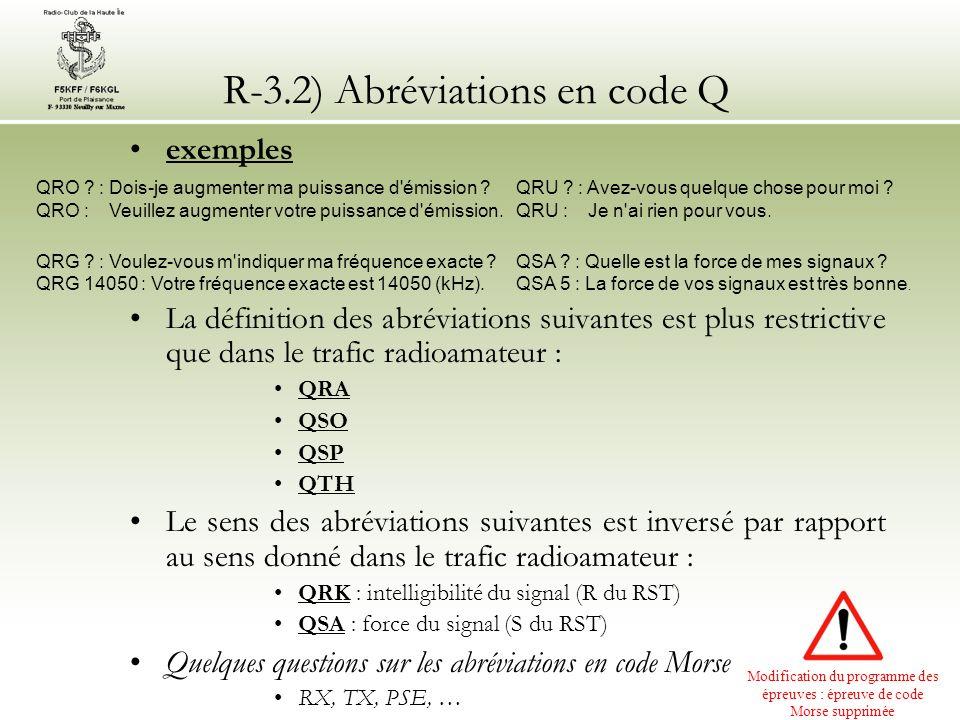 R-3.2) Abréviations en code Q exemples La définition des abréviations suivantes est plus restrictive que dans le trafic radioamateur : QRA QSO QSP QTH
