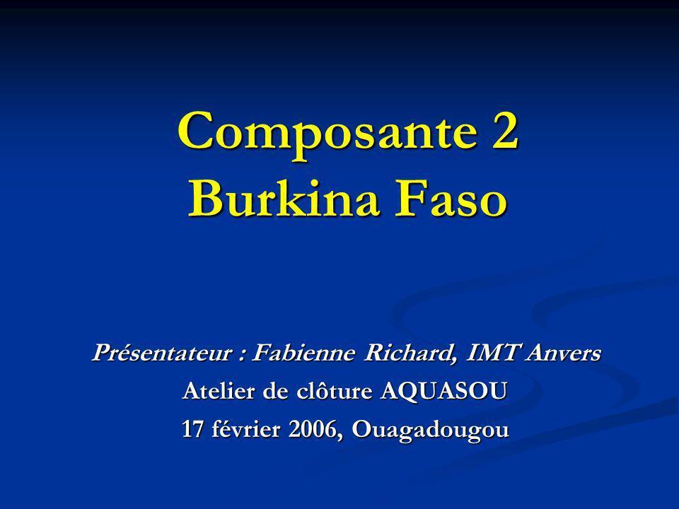 Composante 2 Burkina Faso Présentateur : Fabienne Richard, IMT Anvers Atelier de clôture AQUASOU 17 février 2006, Ouagadougou
