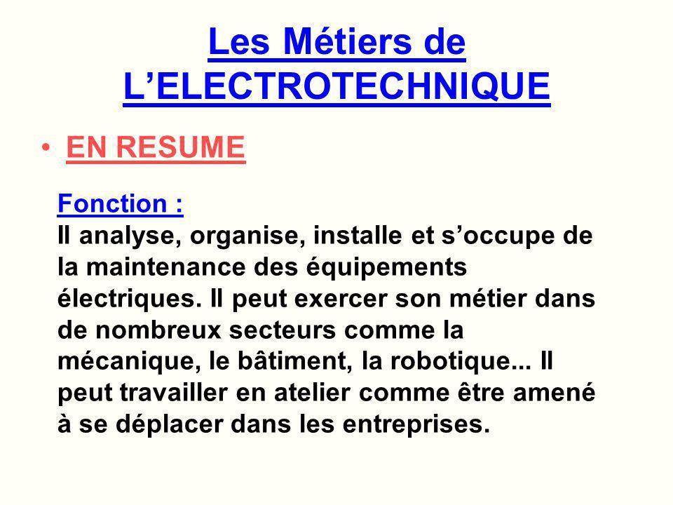 INSTALLER – CONSTRUIRE Description des Métiers de lélectrotechnique Dans le cadre de la construction de maisons individuelles et de locaux tertiaires