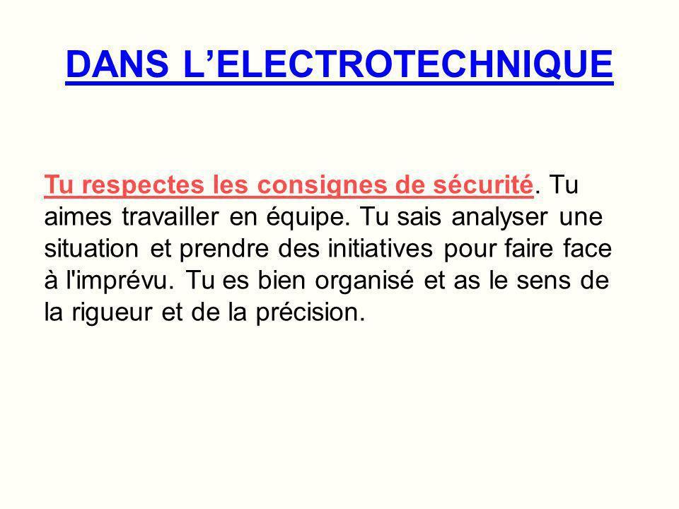 Les Métiers de LELECTROTECHNIQUE EN RESUME Fonction : Il analyse, organise, installe et soccupe de la maintenance des équipements électriques.