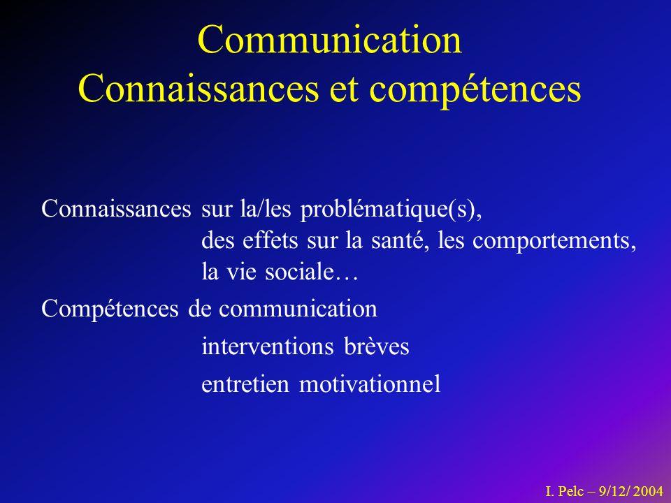 Communication Connaissances et compétences Connaissances sur la/les problématique(s), des effets sur la santé, les comportements, la vie sociale… Comp