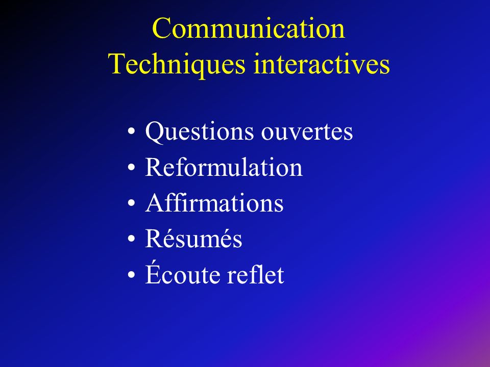 Communication Techniques interactives Questions ouvertes Reformulation Affirmations Résumés Écoute reflet