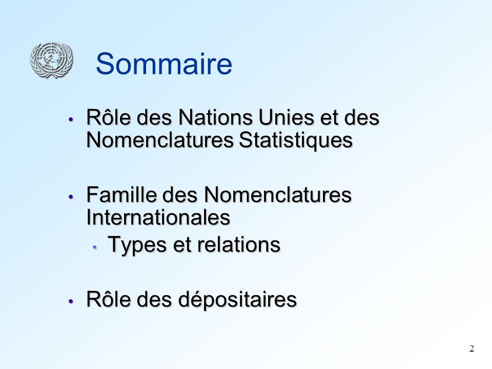 2 Sommaire Rôle des Nations Unies et des Nomenclatures Statistiques Rôle des Nations Unies et des Nomenclatures Statistiques Famille des Nomenclatures