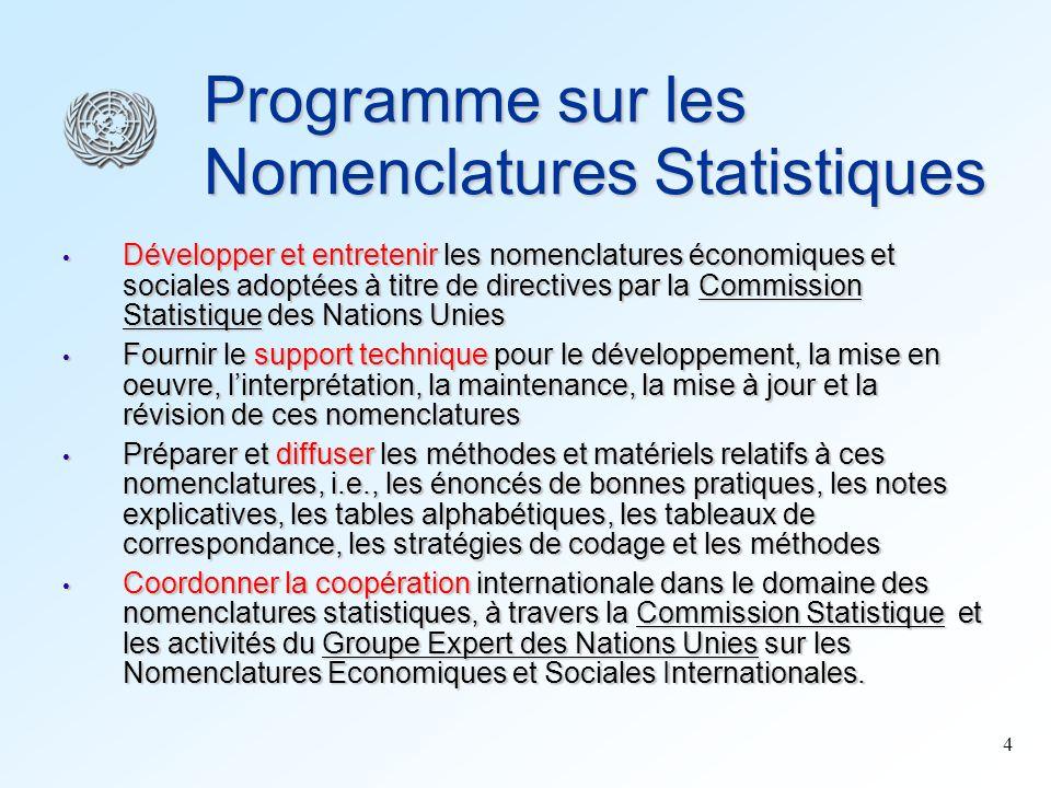 4 Programme sur les Nomenclatures Statistiques Développer et entretenir les nomenclatures économiques et sociales adoptées à titre de directives par l