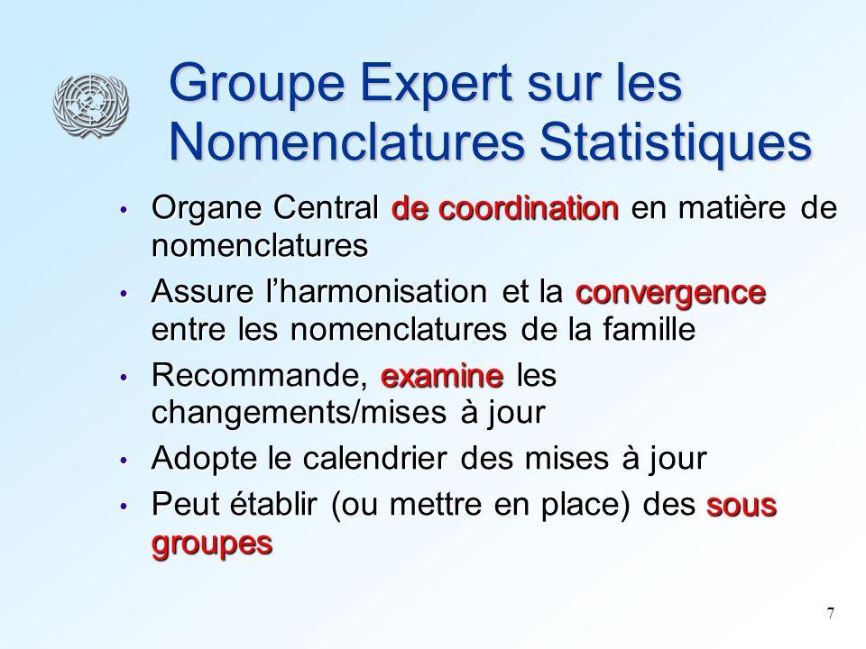 8 Sous-Groupe Technique (SGT) Effectue des tâches techniques, analytiques ou exploratoires Effectue des tâches techniques, analytiques ou exploratoires Rend compte au Groupe Expert Rend compte au Groupe Expert Il existe présentement un SGT, qui soccupe des révisions de CITI et CPC Il existe présentement un SGT, qui soccupe des révisions de CITI et CPC Mis en place par le Groupe Expert en 1999 Mis en place par le Groupe Expert en 1999