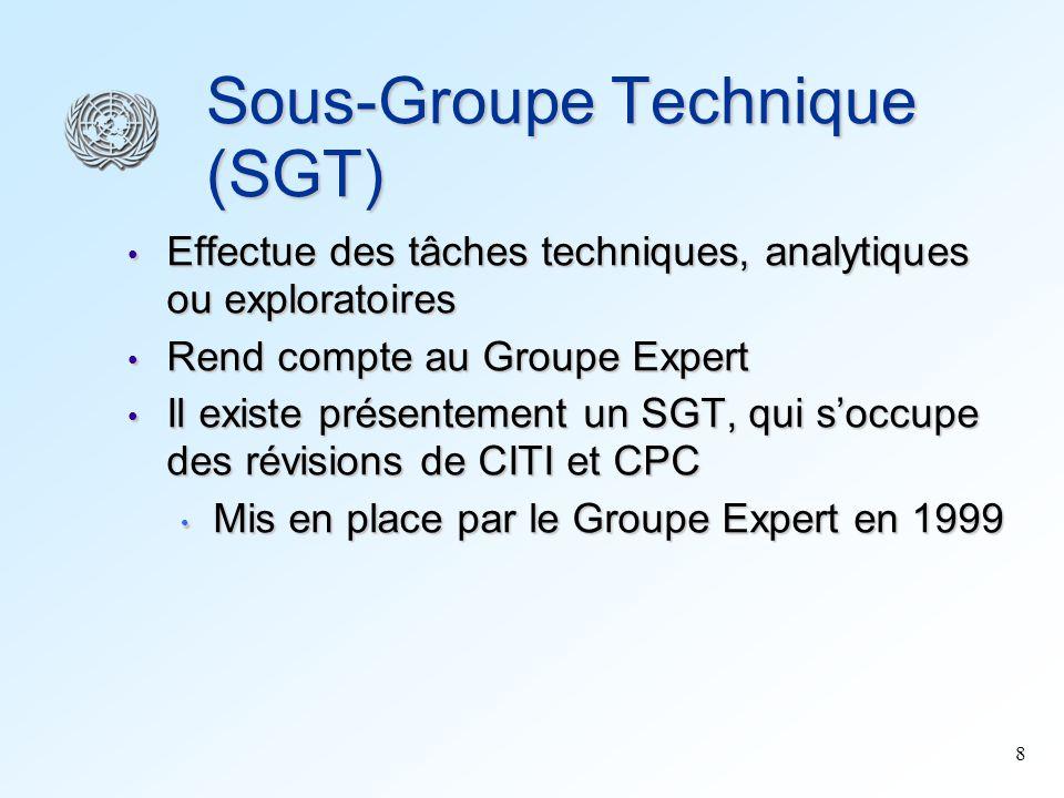 8 Sous-Groupe Technique (SGT) Effectue des tâches techniques, analytiques ou exploratoires Effectue des tâches techniques, analytiques ou exploratoire