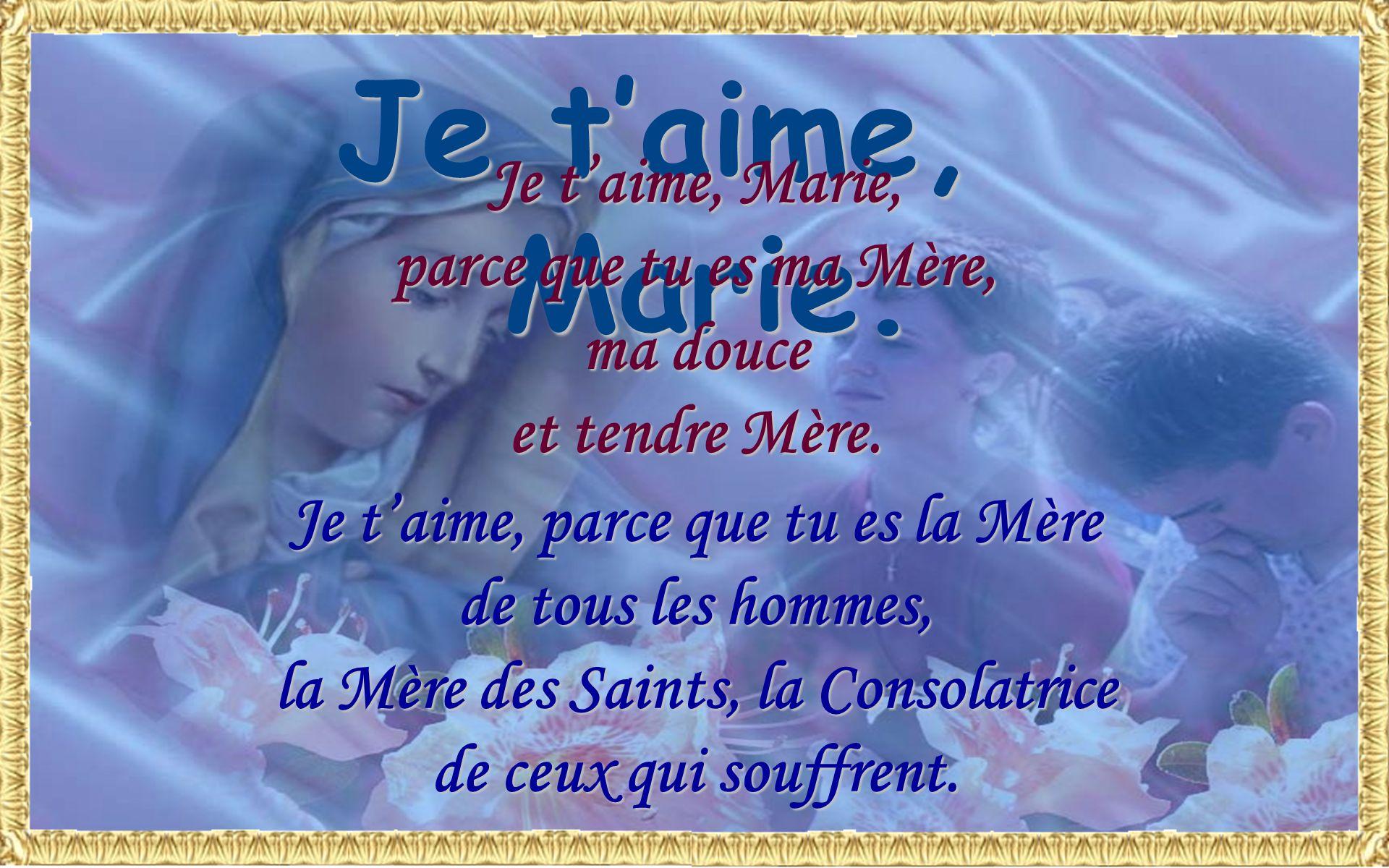 Marie, Mère bonne, je te supplie par cet amour si tendre que tu portas à ton Fils : Obtiens-moi de laimer comme tu las aimé et comme tu veux quil soit
