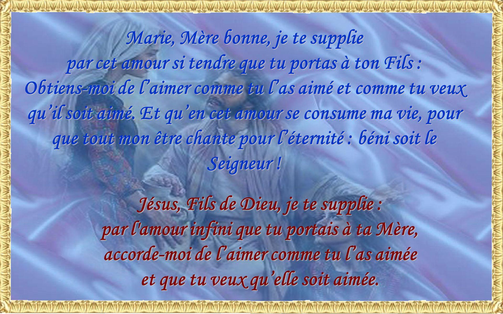 Marie, Mère bonne, je te supplie par cet amour si tendre que tu portas à ton Fils : Obtiens-moi de laimer comme tu las aimé et comme tu veux quil soit aimé.