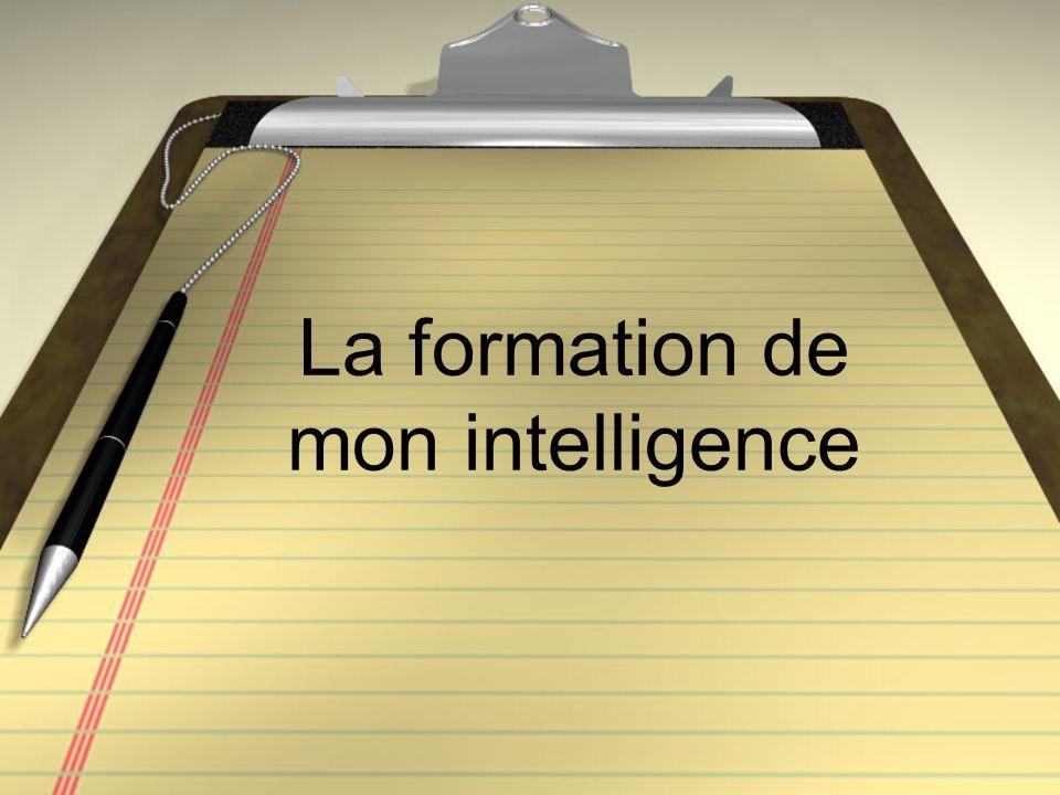 La formation de mon intelligence