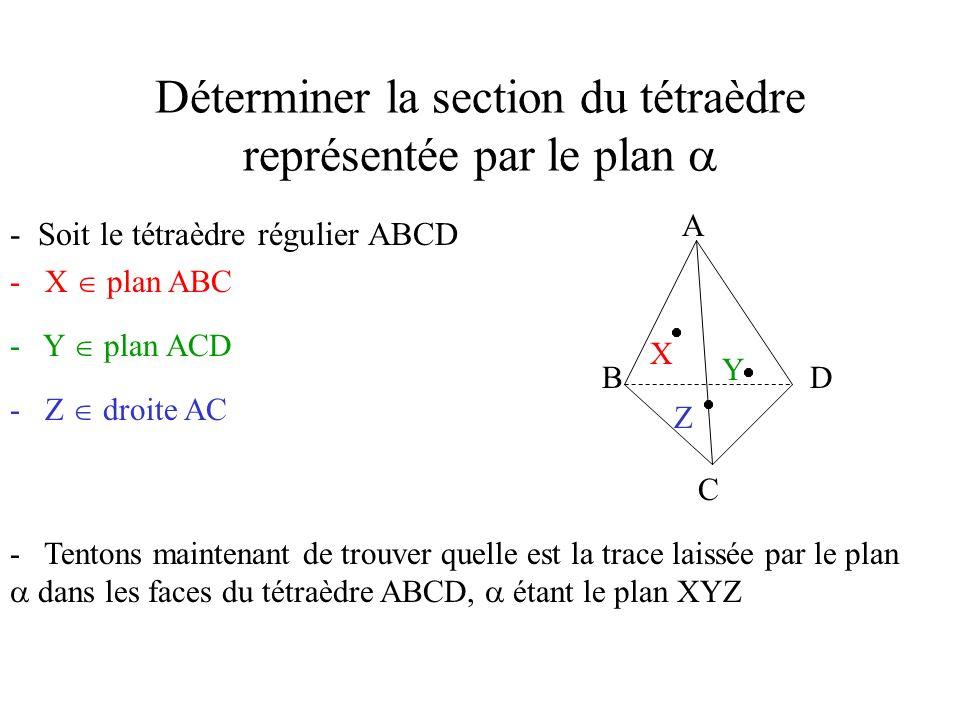 Déterminer la section du tétraèdre représentée par le plan - Soit le tétraèdre régulier ABCD A B C D - X plan ABC X - Y plan ACD Y - Z droite AC Z - Tentons maintenant de trouver quelle est la trace laissée par le plan dans les faces du tétraèdre ABCD, étant le plan XYZ