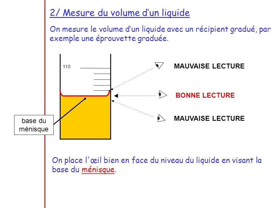 2/ Mesure du volume dun liquide On mesure le volume dun liquide avec un récipient gradué, par exemple une éprouvette graduée. 110 MAUVAISE LECTURE BON