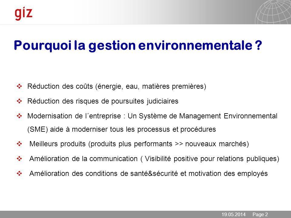 19.05.2014 Page 2 Pourquoi la gestion environnementale ? Réduction des coûts (énergie, eau, matières premières) Réduction des risques de poursuites ju