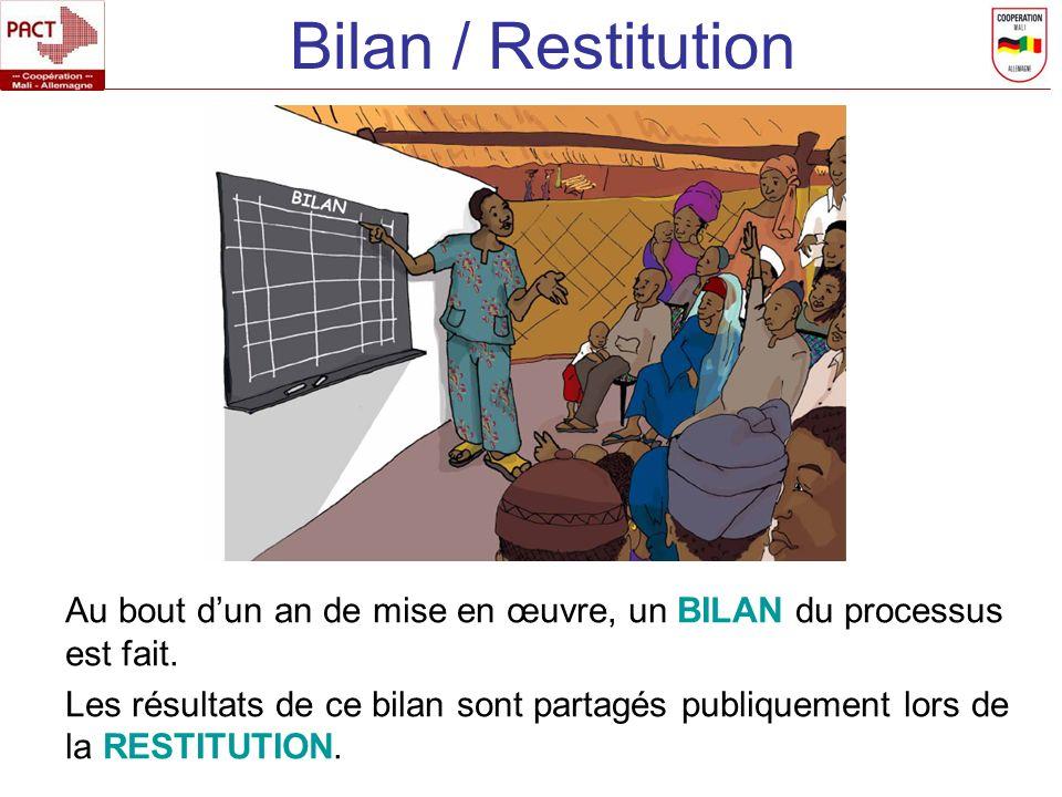 Bilan / Restitution Au bout dun an de mise en œuvre, un BILAN du processus est fait. Les résultats de ce bilan sont partagés publiquement lors de la R