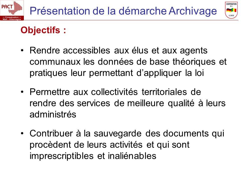 Présentation de la démarche Archivage Objectifs : Rendre accessibles aux élus et aux agents communaux les données de base théoriques et pratiques leur