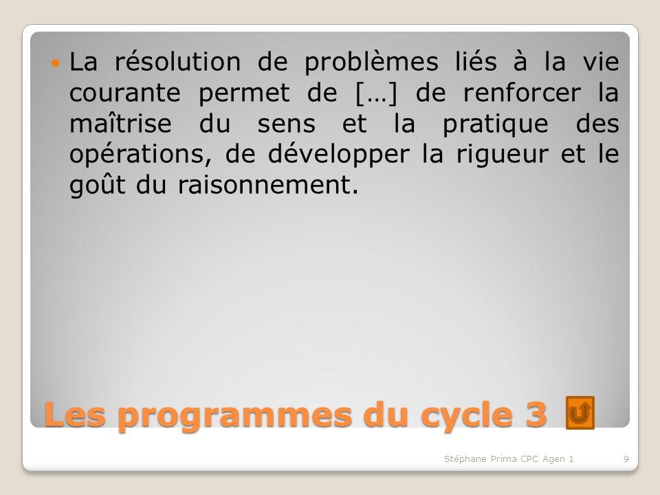 Les programmes du cycle 3 La résolution de problèmes liés à la vie courante permet de […] de renforcer la maîtrise du sens et la pratique des opérations, de développer la rigueur et le goût du raisonnement.