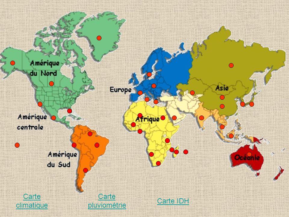 Carte climatique Carte pluviométrie Carte IDH