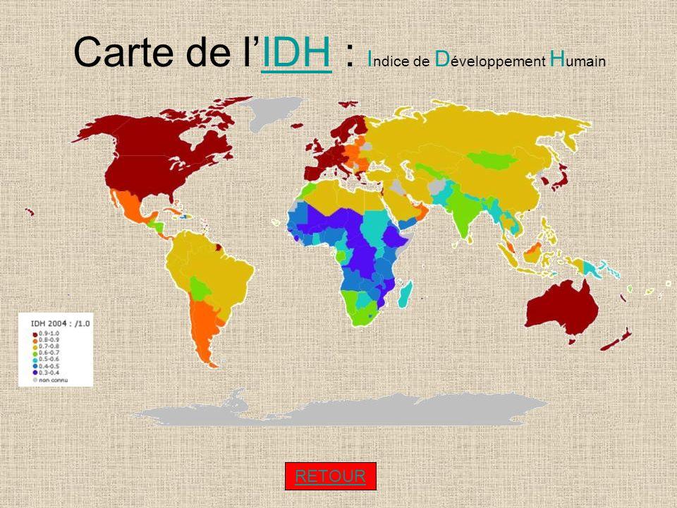 Carte de lIDH : I ndice de D éveloppement H umainIDH RETOUR