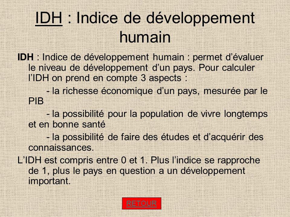 IDH : Indice de développement humain IDH : Indice de développement humain : permet dévaluer le niveau de développement dun pays. Pour calculer lIDH on