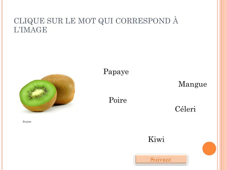 CLIQUE SUR LE MOT QUI CORRESPOND À LIMAGE Mangue Céleri Kiwi Poire Suivant Papaye Source