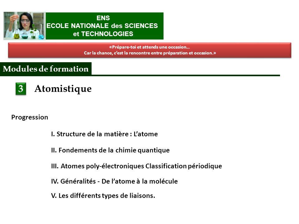 Atomistique I. Structure de la matière : Latome II.