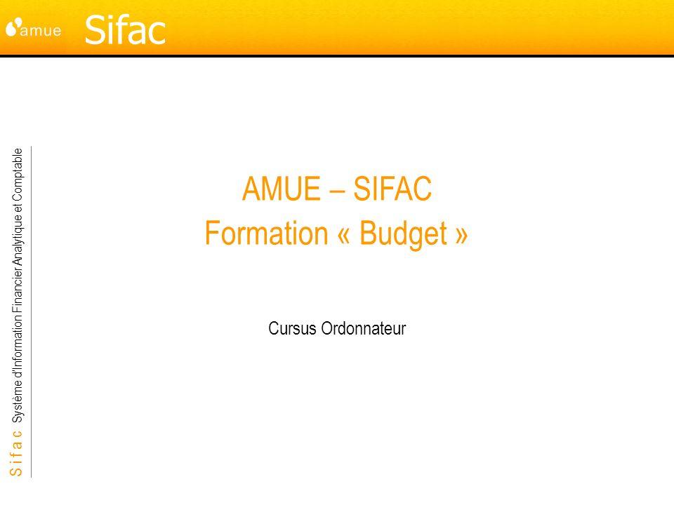 S i f a c Système dInformation Financier Analytique et Comptable Budget 82 Démonstration 5 min Démonstration 9: Fermeture de la version 0