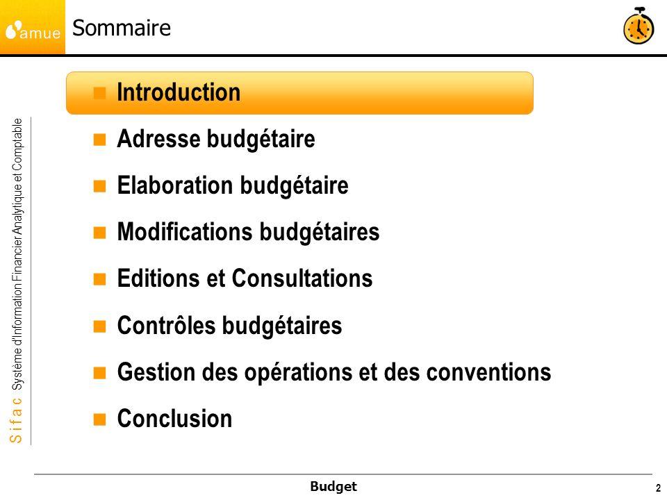 S i f a c Système dInformation Financier Analytique et Comptable Budget 43 Le type de budget : Le type de budget caractérise les grandes étapes de la mise en place des crédits, plusieurs types de budget peuvent être créés : Elaboration budgétaire Budget initial (BP), Budget Provisoire (PROV) Modifications budgétaires Décision(s) budgétaire(s) modificative(s), DM1, DM2, etc.
