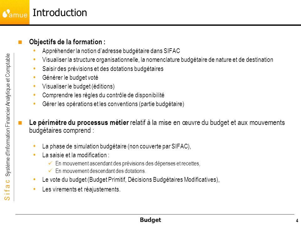 S i f a c Système dInformation Financier Analytique et Comptable Budget 45 Exemple de copie du budget voté en 2007 en version PR1 de lannée 2008 pour une UB à laide de la transaction FMCYLOAD Il faut saisir dans un premier temps les données correspondant au budget source : Périmètre financier Z100, version 0 (budget voté), Année 2007, période 1 à 12 Restriction sur les adresses budgétaire à copier : il est possible de filtrer, sur un élément en particulier de ladresse (un compte par exemple), un intervalle, ou un groupe.