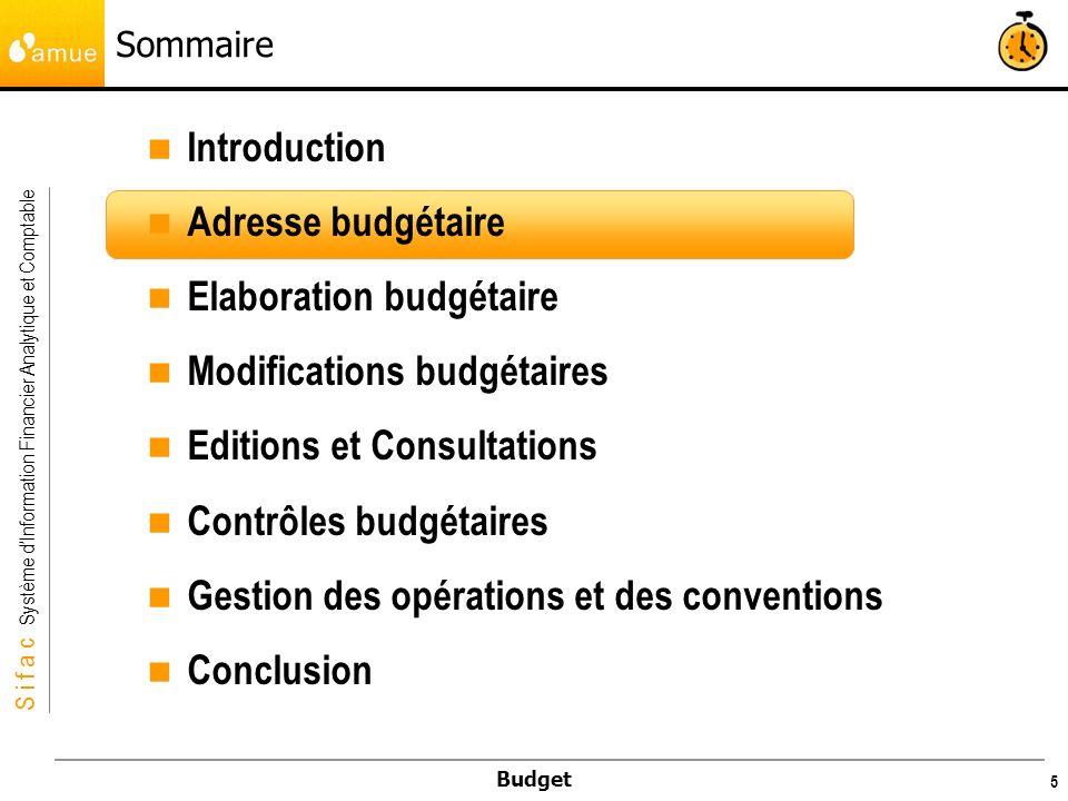 S i f a c Système dInformation Financier Analytique et Comptable Budget 56 Exercice 10 min Exercice 5 Consultation de la conséquence des modifications en version PR1