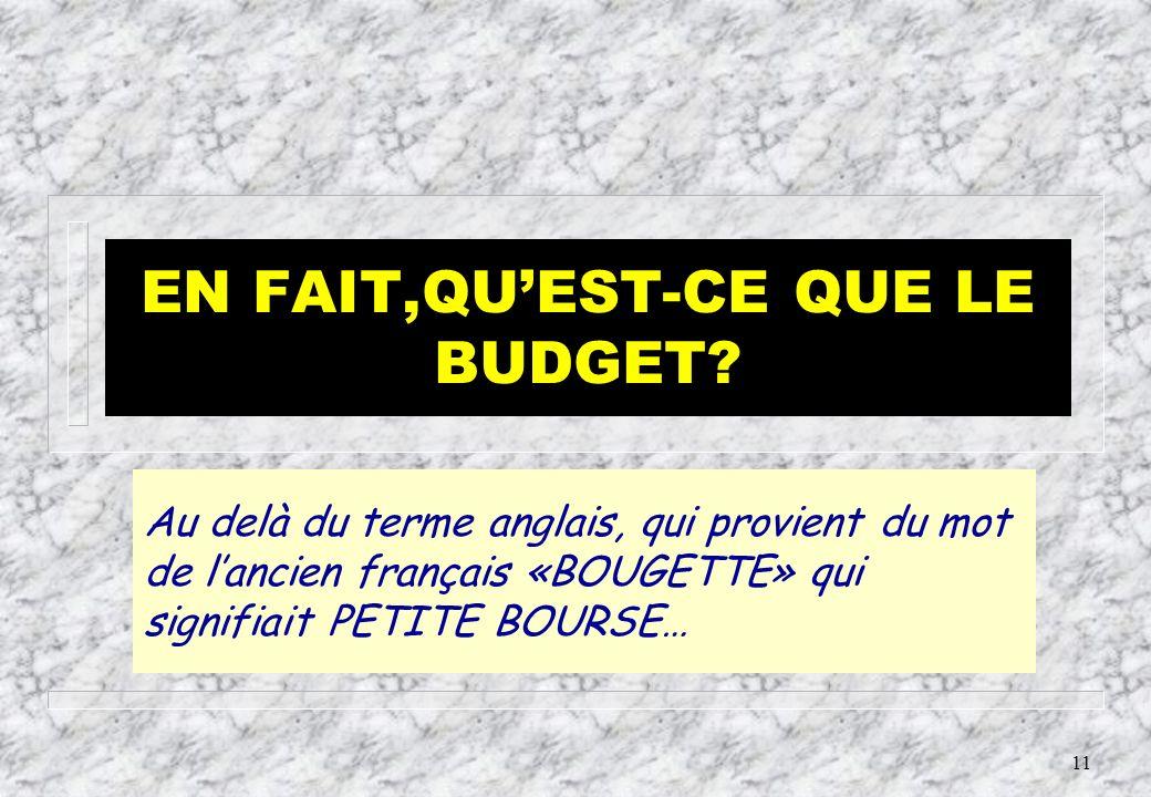 10 BUDGET ET LOI DE FINANCES Au niveau de l Etat, le terme budget ne doit pas désigner l acte d autorisation des R et des D = un plan financier.