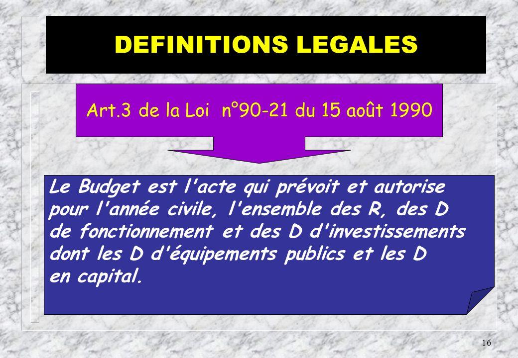 15 Le Budget comprend les R et les D définitives de l Etat, fixées annuellement par la LF et réparties selon les dispositions législatives et réglementaires en vigueur...