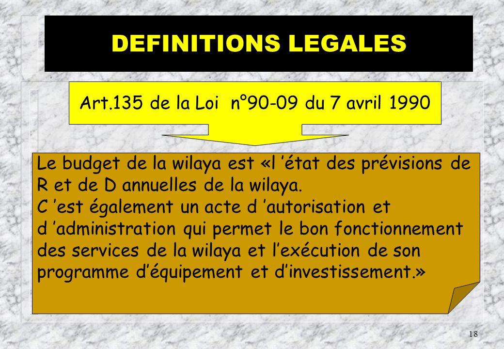17 Le budget communal est «l état des prévisions de R et de D annuelles de la commune.