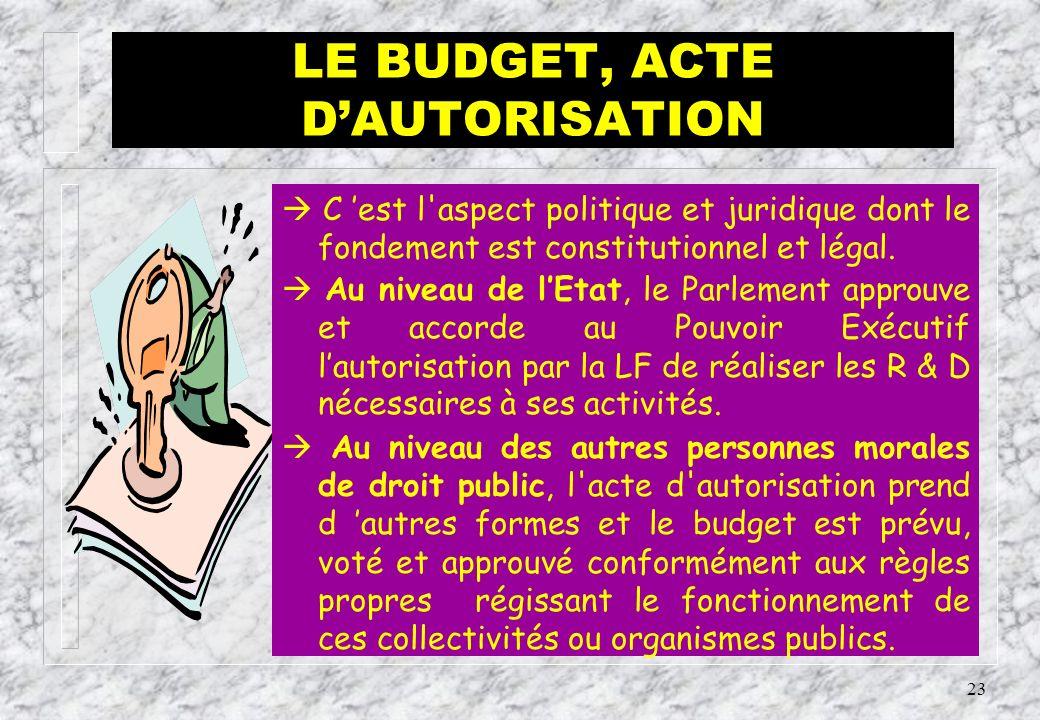 22 LE BUDGET, ACTE DE PREVISION Cest l aspect technique.
