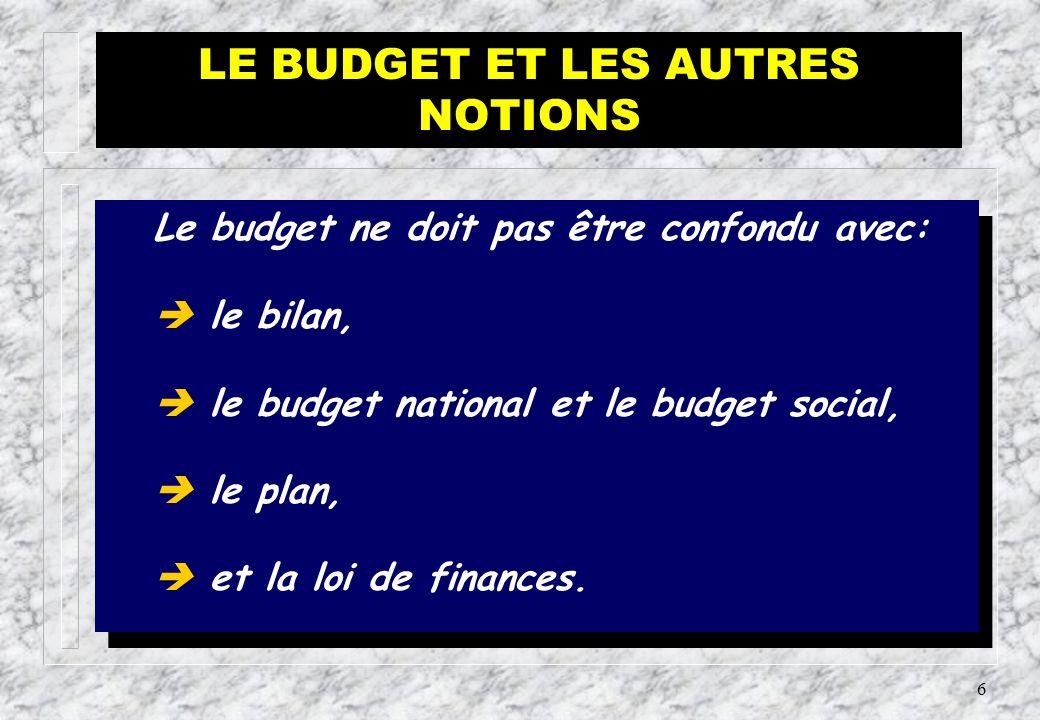5 Le budget se rapproche par quelques uns de ses caractères d autres concepts avec lesquels il ne doit pas être confondu.