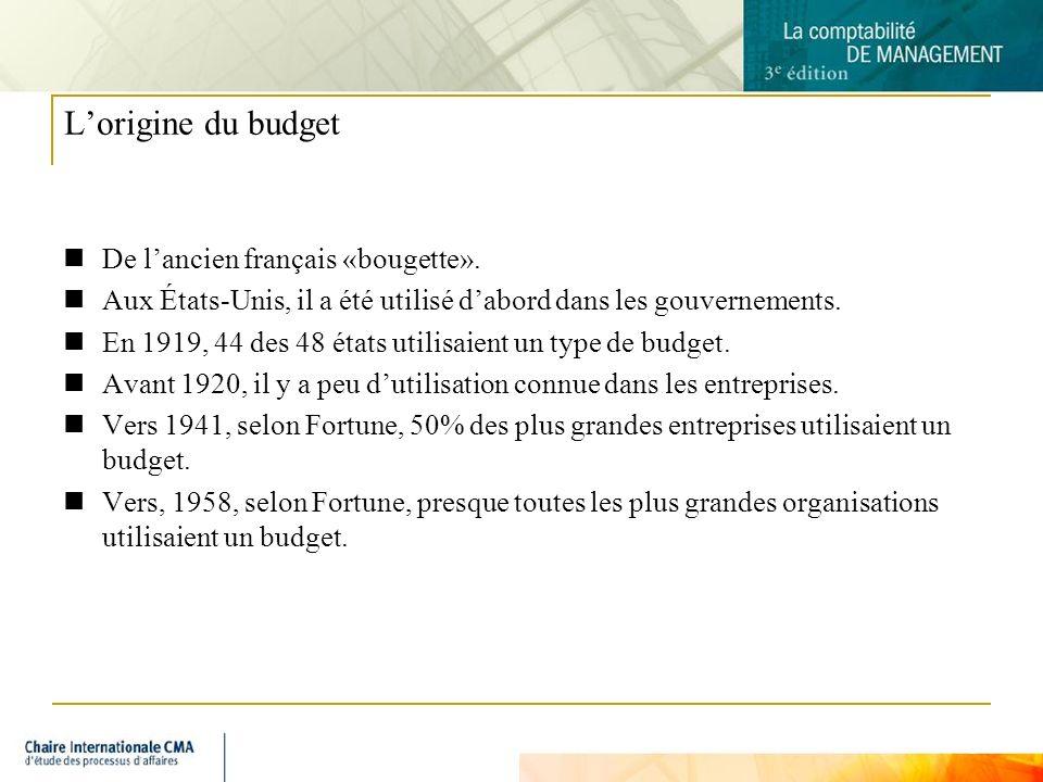 3 Lorigine du budget De lancien français «bougette». Aux États-Unis, il a été utilisé dabord dans les gouvernements. En 1919, 44 des 48 états utilisai