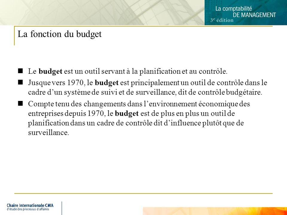 4 La fonction du budget Le budget est un outil servant à la planification et au contrôle. Jusque vers 1970, le budget est principalement un outil de c