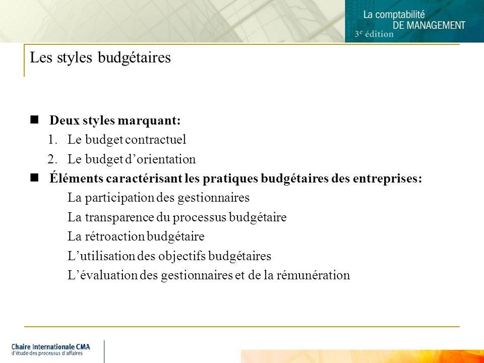 8 Les styles budgétaires Deux styles marquant: 1.Le budget contractuel 2.Le budget dorientation Éléments caractérisant les pratiques budgétaires des e