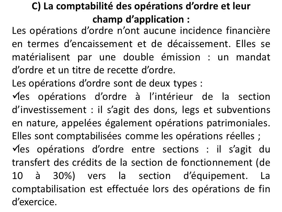 C) La comptabilité des opérations dordre et leur champ dapplication : Les opérations dordre nont aucune incidence financière en termes dencaissement e