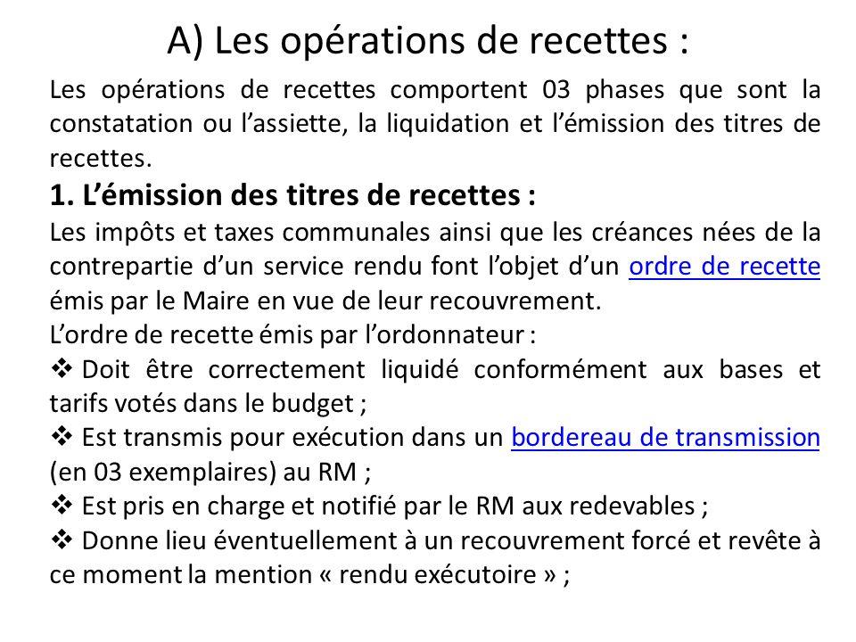 A) Les opérations de recettes : Les opérations de recettes comportent 03 phases que sont la constatation ou lassiette, la liquidation et lémission des