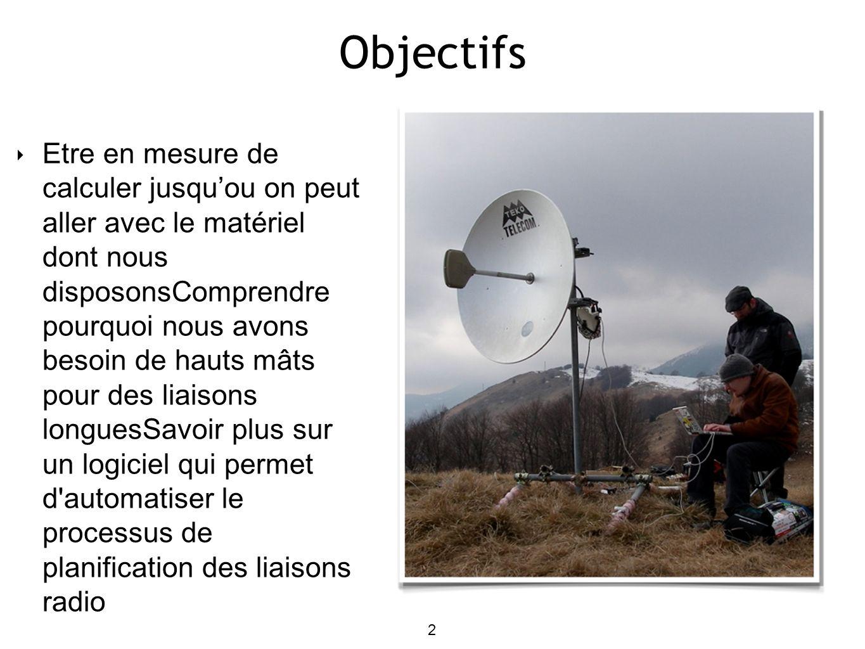 2 Objectifs Etre en mesure de calculer jusquou on peut aller avec le matériel dont nous disposonsComprendre pourquoi nous avons besoin de hauts mâts pour des liaisons longuesSavoir plus sur un logiciel qui permet d automatiser le processus de planification des liaisons radio