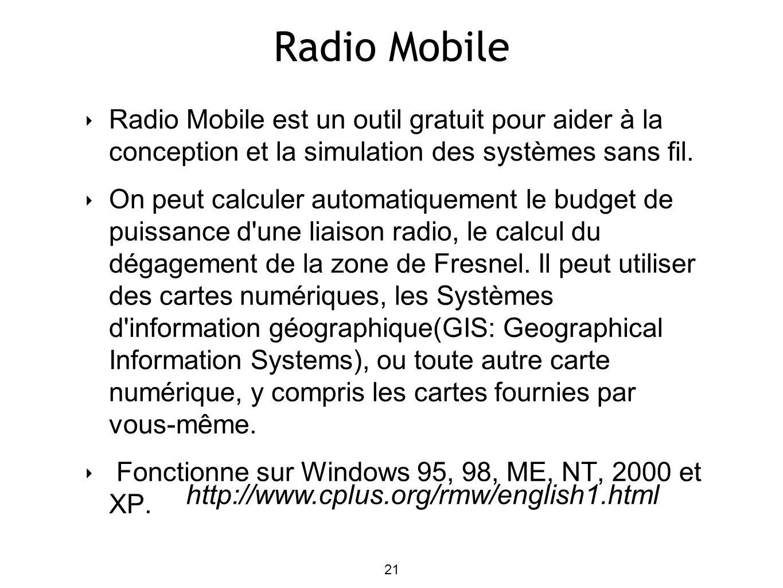 Radio Mobile Radio Mobile est un outil gratuit pour aider à la conception et la simulation des systèmes sans fil. On peut calculer automatiquement le