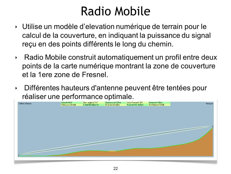 Radio Mobile 22 Utilise un modèle delevation numérique de terrain pour le calcul de la couverture, en indiquant la puissance du signal reçu en des poi