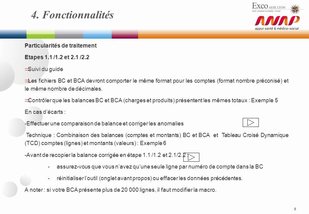 4. Fonctionnalités 9 Particularités de traitement Etapes 1.1 /1.2 et 2.1 /2.2 Suivi du guide Les fichiers BC et BCA devront comporter le même format p