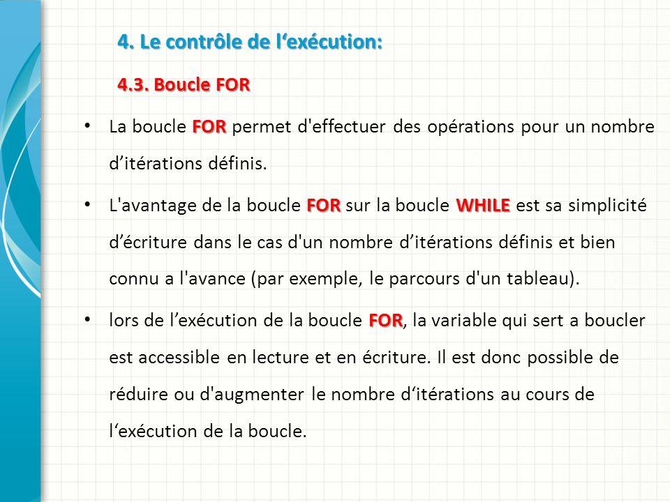 4.Le contrôle de lexécution: 4.3.