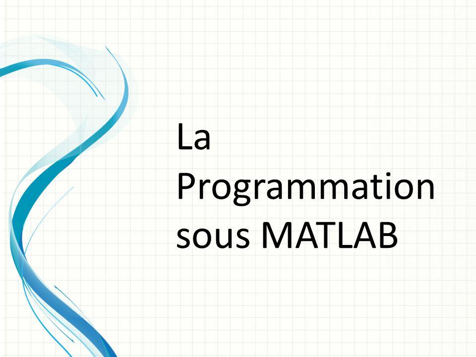 La Programmation sous MATLAB