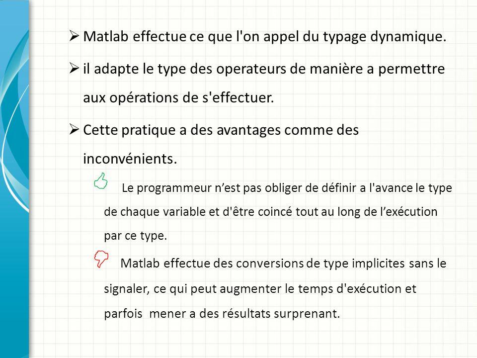 Matlab effectue ce que l on appel du typage dynamique.