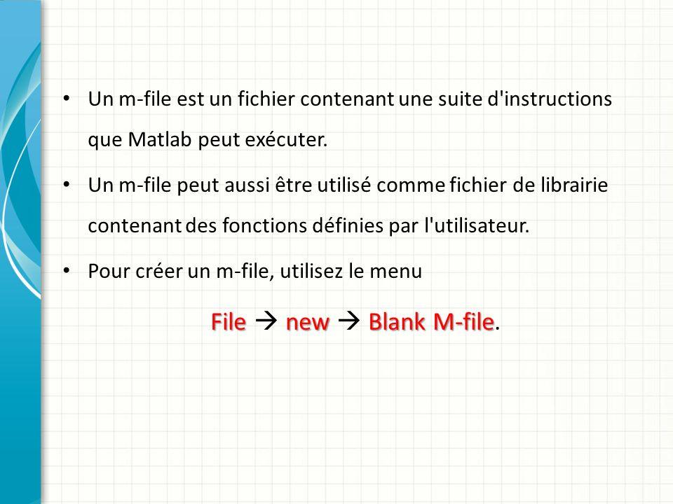 Un m-file est un fichier contenant une suite d instructions que Matlab peut exécuter.
