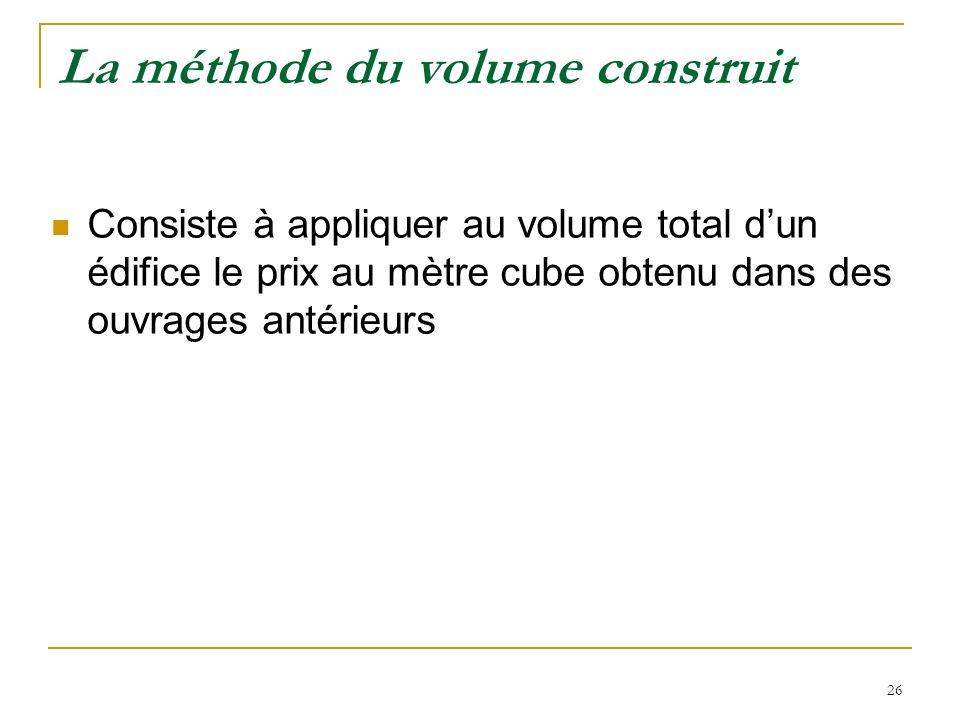 26 La méthode du volume construit Consiste à appliquer au volume total dun édifice le prix au mètre cube obtenu dans des ouvrages antérieurs