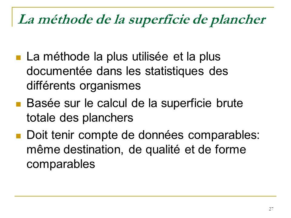 27 La méthode de la superficie de plancher La méthode la plus utilisée et la plus documentée dans les statistiques des différents organismes Basée sur