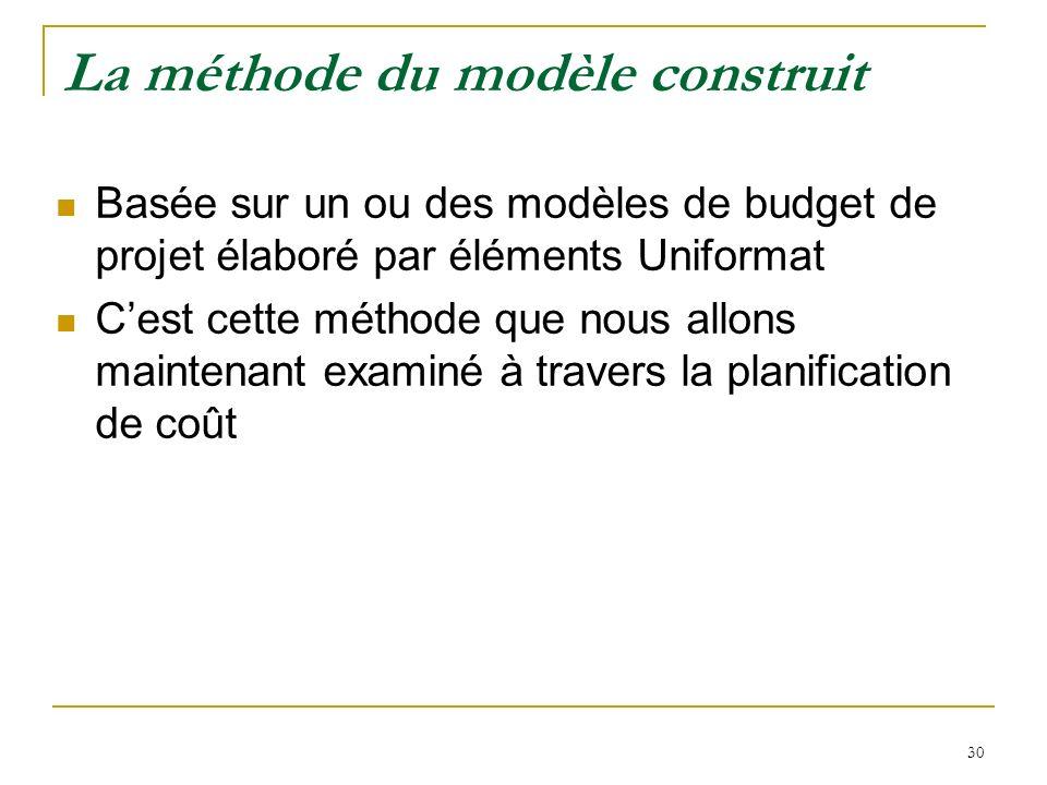 30 La méthode du modèle construit Basée sur un ou des modèles de budget de projet élaboré par éléments Uniformat Cest cette méthode que nous allons ma