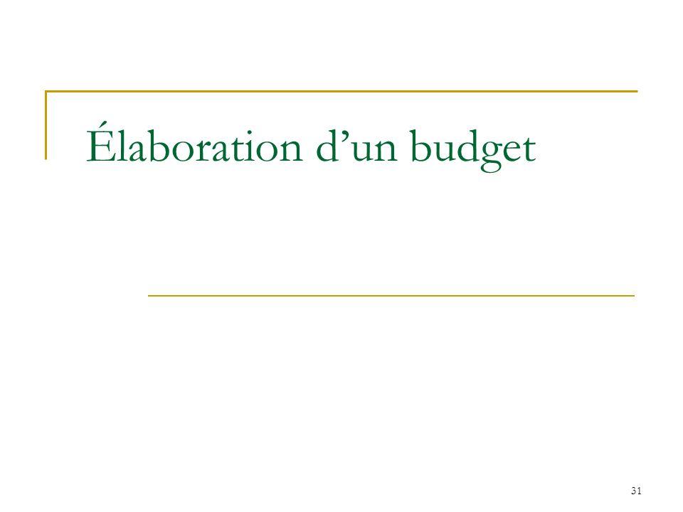 31 Élaboration dun budget
